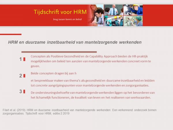 HRM en duurzame inzetbaarheid van mantelzorgende werkenden: Een verkennend onderzoek binnen zorgorganisaties